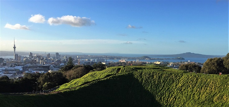 Auckland sky tower and rangitoto volcano in distance from above