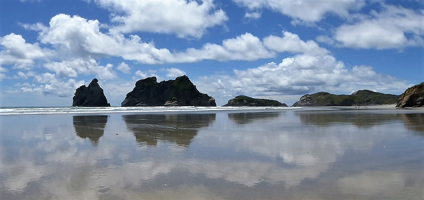 cloud reflections on wharariki beach