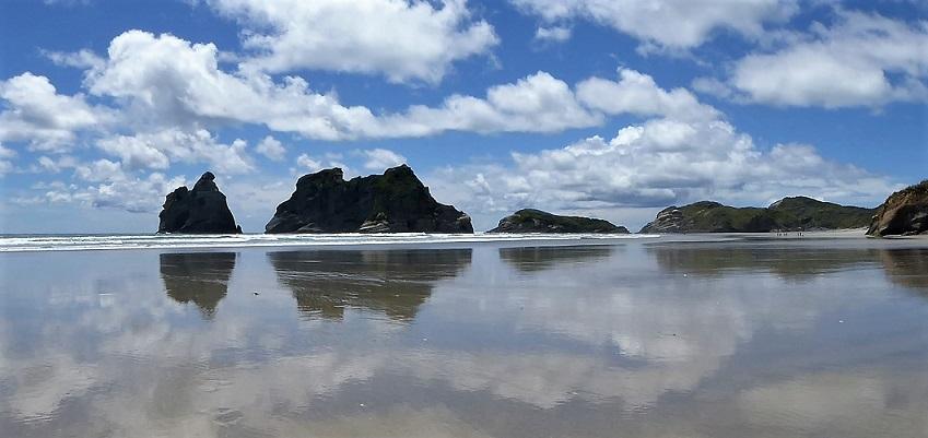 cloud reflections on wharariki beach