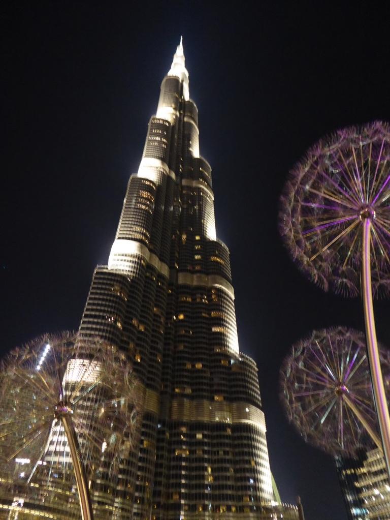 Burj Khalifa in Dubai lit up at night